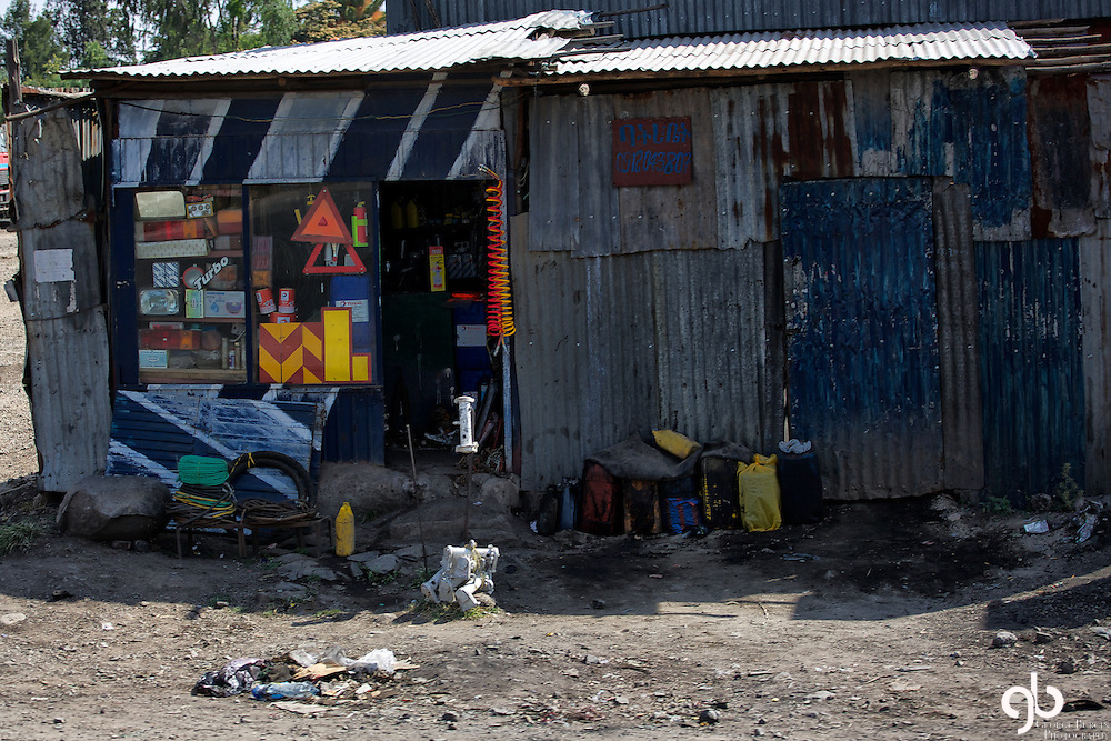 This is a vehicle maintenance shop in Addis Ababa, Ethiopia.