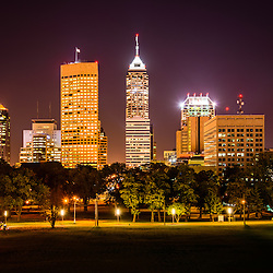 Downtown Indianapolis skyline at night picture with Indianapolis city office buildings and skyscrapers.