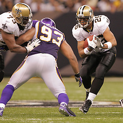 2008 October, 06: New Orleans Saints running back Deuce McAllister (26) runs as Minnesota Vikings defensive tackle Kevin Williams (93) pursues during a week five regular season game between the Minnesota Vikings and the New Orleans Saints for Monday Night Football at the Louisiana Superdome in New Orleans, LA.