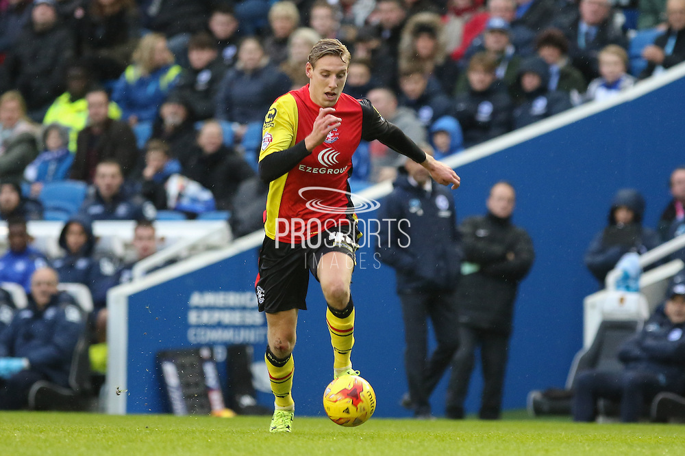 Birmingham City striker Nicolai Brock-Madsen (44) during the Sky Bet Championship match between Brighton and Hove Albion and Birmingham City at the American Express Community Stadium, Brighton and Hove, England on 28 November 2015. Photo by Phil Duncan.