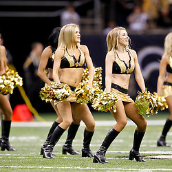 September 25, 2011; New Orleans, LA, USA; New Orleans Saints Saintsations cheerleaders perform prior to kickoff of a game against the Houston Texans at the Louisiana Superdome. Mandatory Credit: Derick E. Hingle
