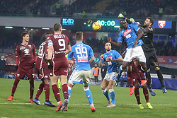 February 17, 2019 - Napoli, Italy, Italy - Italian Serie A football match SSC Napoli - Torino FC at the San Paolo stadium in photo Kalidou Koulibaly defender of ssc napoli  and Salvatore Sirigu contend the ball score final of the match is 0-0. (Credit Image: © Antonio Balasco/Pacific Press via ZUMA Wire)