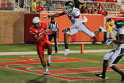 06 Sep 2014: Lechein Neblett gets separation from Avery Boykin in the end zone for a reception and a score during a non-conference NCAA football game between the Delta Devils of Mississippi Valley State and the Redbirds of Illinois State at Hancock Stadium in Normal Il
