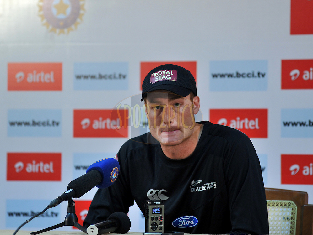 Martin Guptill of New Zealand addresses a press conference after the days play on day one of the second test match between India and New Zealand held at the M. Chinnaswamy Stadium, Bengaluru on the 31st August 2012..Photo by Pal Pillai/BCCI/SPORTZPICS