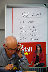 © Licensed to London News Pictures. 07/09/2015. London, UK. Labour Party leader candidate Liz Kendall's supporters calling Labour Party members to make sure they vote before the Thursday lunchtime deadline as the Labour leadership election enters the final 72 hours. Photo credit: Tolga Akmen/LNP