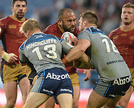 Sam Moa of Catalans Dragons drives the ball in during the Ladbrokes Challenge Cup match at the John Smiths Stadium, Huddersfield<br /> Picture by Richard Land/Focus Images Ltd +44 7713 507003<br /> 31/05/2018