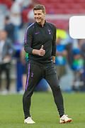 Tottenham Hotspur Manager Mauricio Pochettino puts his thumbs up during the Tottenham Hotspur UEFA Champions League press and training session at Wanda Metropolitano Stadium, Madrid, Spain on 31 May 2019.