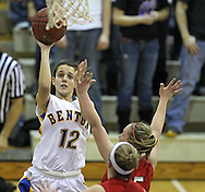 Benton's Madison Weekly (12) puts up a shot during their Rivalry Saturday game at Washington High School at 2205 Forest Drive SE in Cedar Rapids on Saturday, January 21, 2012. (Stephen Mally/Freelance)