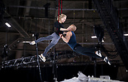 "Aerial acrobats Silja Dos Reis and Jérôme Sordillon share a mid-air embrace during rehearsal for ""Cirque du Soleil: CRYSTAL"" at the Alliant Energy Center in Madison, WI on Wednesday, May 1, 2019."