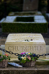 © Licensed to London News Pictures. *23/*01/2015. Bladon, Oxfordshire. In the Churchyard of St Martin Bladon is the Grave of Sir Winston Churchill who dies on 24th January 1965. Photo credit : MARK HEMSWORTH/LNP