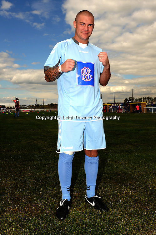 Former boxer Jamie Moore at The Indee Rose Trust, Charity football tournament featuring boxing and tv personalities. The Concord Rangers FC, Canvey Island, Essex, 14th August 2011. Photo credit: Leigh Dawney 2011