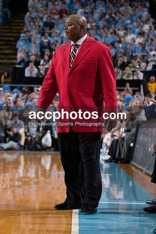 21 February 2007: North Carolina State Wolfpack head coach Sidney Lowe during a 83-64 to the North Carolina Tar Heels, in the Dean E. Smith Center in Chapel Hill, NC.