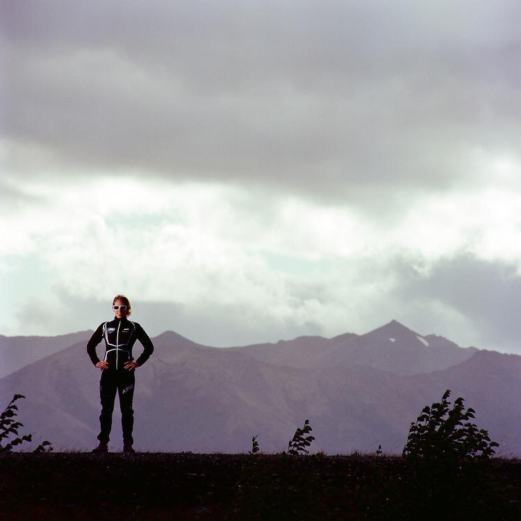 TURNAGAIN ARM, ALASKA - 2012: Olympic skier Kikkan Randall.