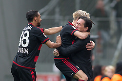 16.04.2016, BayArena, Leverkusen, GER, 1. FBL, Bayer 04 Leverkusen vs Eintracht Frankfurt, 30. Runde, im Bild Karim Bellarabi (Bayer 04 Leverkusen #38), Kevin Kampl (Bayer Leverkusen #44) und Trainer Roger Schmidt (Bayer 04 Leverkusen) beim Torjubel Treffer zum 1:0 beim // during the German Bundesliga 30th round match between Bayer 04 Leverkusen and Eintracht Frankfurt at the BayArena in Leverkusen, Germany on 2016/04/16. EXPA Pictures © 2016, PhotoCredit: EXPA/ Eibner-Pressefoto/ Schüler<br /> <br /> *****ATTENTION - OUT of GER*****