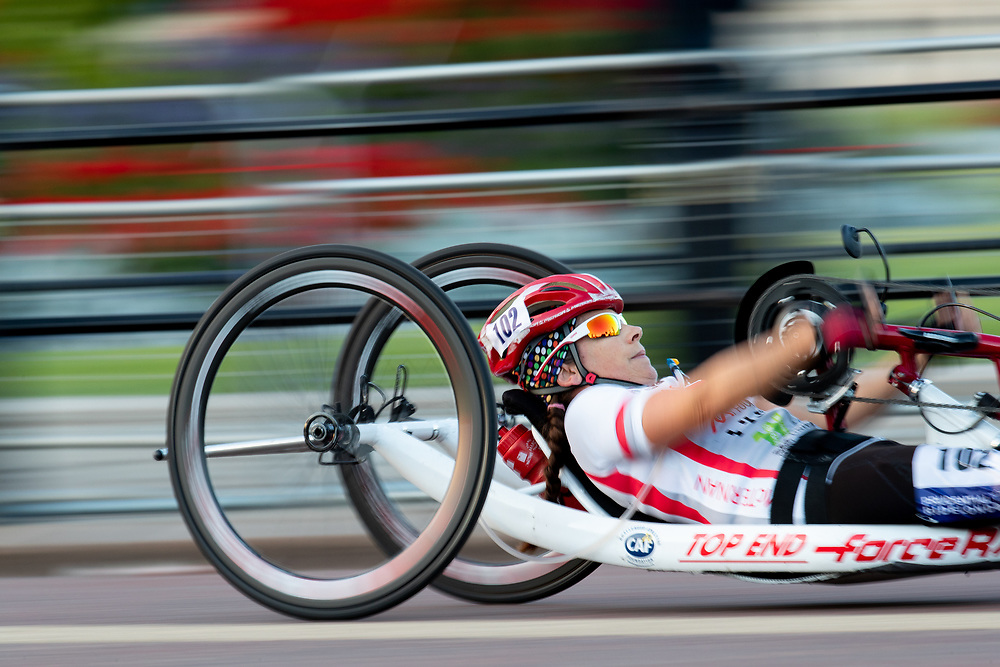 Slow shutter speed effect as a rider cycles up The Mall in The Prudential RideLondon Handcycle Grand Prix. Saturday 28th July 2018<br /> <br /> Photo: Jed Leicester for Prudential RideLondon<br /> <br /> Prudential RideLondon is the world's greatest festival of cycling, involving 100,000+ cyclists - from Olympic champions to a free family fun ride - riding in events over closed roads in London and Surrey over the weekend of 28th and 29th July 2018<br /> <br /> See www.PrudentialRideLondon.co.uk for more.<br /> <br /> For further information: media@londonmarathonevents.co.uk