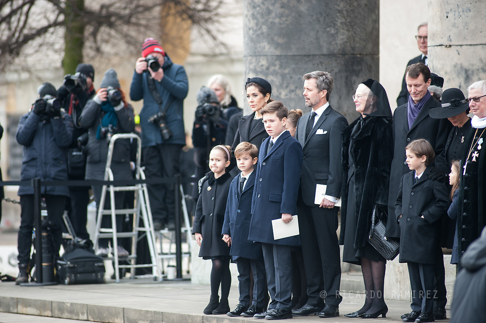 20.02.2018. Copenhagen, Denmark. <br /> Crown Princess Mary,  Princess Isabella, Prince Vincent, Prince Christian, Princess Josephine, Crown Prince Frederik, Queen Margrethe, Prince Joacim, Princess Marie, Prince Nikolai, Prince Felix, Prince Henrik and Princess Athena outside at Christiansborg Palace Church after the funeral service . <br /> Photo: Ricardo Ramirez.