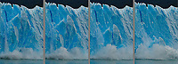 Giant blocks of ice calve off the Perito Moreno Glacier and thunder into the waters of Lago Argentino, a testament to the unstoppable push of the gigantic Patagonian ice field which is at the heart of, and defines, the entire region.