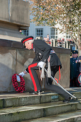 Lord Lieutenant of South Yorkshire Mr David Moody lays a wreath of Poppies at Barnsley War Memorial on remembrance Sunday Barnsley Marks the Centenary of the out break of World War I<br /> <br /> 09 November 2014<br /> <br /> Image © Paul David Drabble <br /> <br /> www.pauldaviddrabble.co.uk