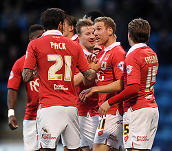 Bristol City celebrate as Bristol City's Scott Wagstaff assists Bristol City's Greg Cunningham's goal - Photo mandatory by-line: Dougie Allward/JMP - Mobile: 07966 386802 - 08/11/2014 - SPORT - Football - Gillingham - Priestfield Stadium - Gillingham v Bristol City - FA Cup - Round One