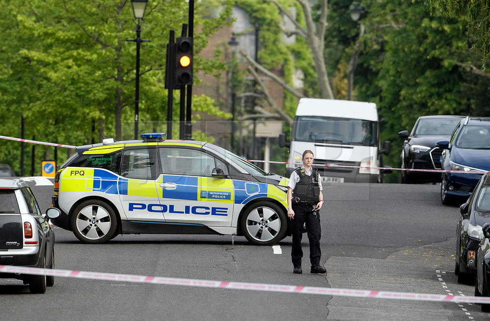 © Licensed to London News Pictures. 20/05/2019. London, UK. Police at the scene in Little Venice, West London where a teenager has been repeatedly stabbed. Police were called to Warwick Avenue following a disturbance yesterday evening. The young man is currently in what has been described as life threatening condition. Photo credit: Ben Cawthra/LNP