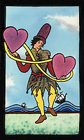 Illustration in the style of a Tarot card.   A classic medieval juggler is juggling 2 hearts connected by a ribbon.  In the background is a stylistic sea with 2 sailing ships on the waves.