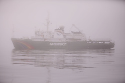 USA ALASKA  ST GEORGE ISLAND 7JUL12 - The Greenpeace ship Esperanza, shrowded in dense fog, arrives near the island of St. George in the Bering Sea, Alaska.......Photo by Jiri Rezac / Greenpeace....© Jiri Rezac / Greenpeace