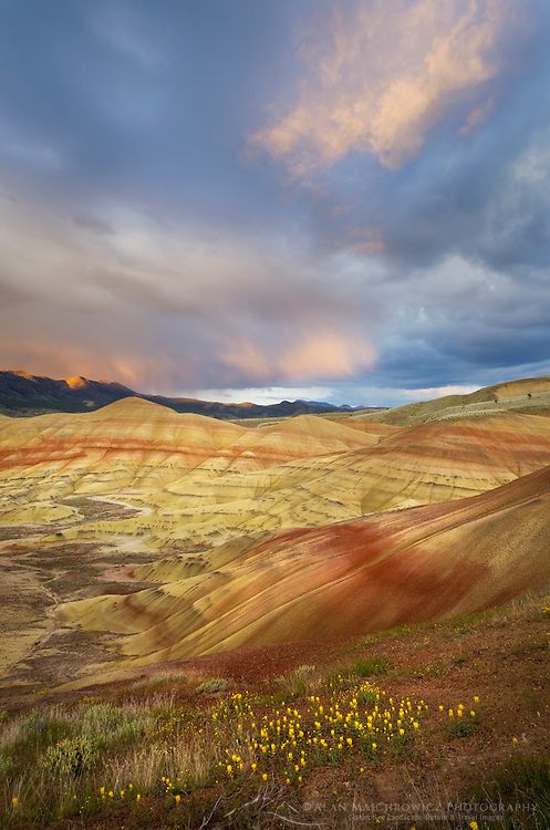 Passing storm at sunset Painted Hill Unit of John Day Fossil Beds National Monument Oregon