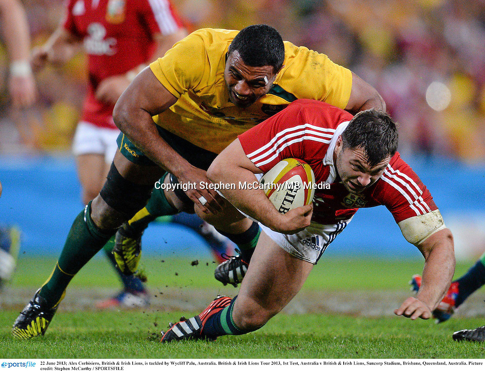 22 June 2013; Alex Corbisiero, British & Irish Lions, is tackled by Wycliff Palu, Australia. British & Irish Lions Tour 2013, 1st Test, Australia v British & Irish Lions, Suncorp Stadium, Brisbane, Queensland, Australia. Picture credit: Stephen McCarthy / SPORTSFILE