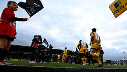Worcester Warriors run out to face Newcastle Falcons - Mandatory by-line: Robbie Stephenson/JMP - 28/04/2017 - RUGBY - Kingston Park - Newcastle upon Tyne, England - Newcastle Falcons v Worcester Warriors - Aviva Premiership
