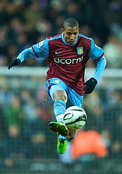 BLACKBURN, ENGLAND - Thursday, January 14, 2010: Aston Villa's Ashley Young in action against Blackburn Rovers during the Football League Cup Semi-Final 1st Leg at Ewood Park. (Photo by David Rawcliffe/Propaganda)