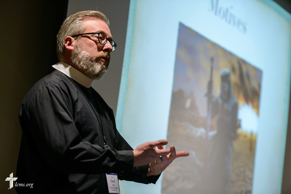 The Rev. David Kind, campus pastor at University Lutheran Chapel in Minneapolis, speaks at his sectional during the Liberty National LCMS Campus Ministry Conference on Wednesday, Jan. 4, 2017, at the University of Maryland in College Park, Md. LCMS Communications/Erik M. Lunsford
