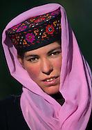 Tajik woman with pink scarf, Xinjiang Uyghur autonomous region, China.