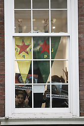 © Licensed to London News Pictures. 29/01/2018. London, UK. Kurdish women's group occupy Conservative headquarters. Police say the group, who are calling on a ban of arms sales to Turkey, are 12 in number. . Photo credit: Peter Macdiarmid/LNP