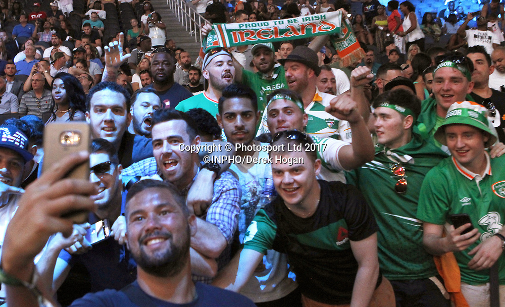 Mayweather vs McGregor Weigh-In, T-Mobile Arena, Las Vegas, Nevada 25/8/2017<br /> Tony Bellew takes a selfie with fans<br /> Mandatory Credit &copy;INPHO/Derek Hogan / www.photosport.nz
