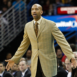 February 5, 2011; New Orleans, LA, USA; New Orleans Hornets head coach Monty Williams against the Los Angeles Lakers during the second quarter at the New Orleans Arena.   Mandatory Credit: Derick E. Hingle