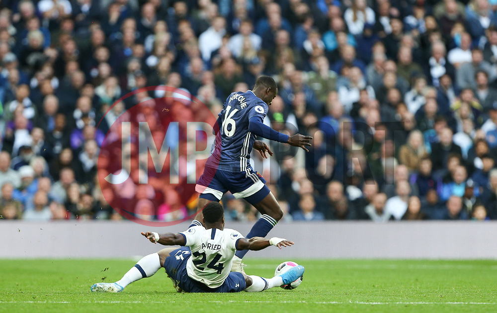 Serge Aurier of Tottenham Hotspur with a desperate tackle in attempt to halt a break lead by Abdoulaye Doucoure of Watford - Mandatory by-line: Arron Gent/JMP - 19/10/2019 - FOOTBALL - Tottenham Hotspur Stadium - London, England - Tottenham Hotspur v Watford - Premier League