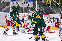2019-10-15 | Umeå, Sweden: Björklöven (11) William Eriksson in the air in HockeyAllsvenskan during the game  between Björklöven and Västervik at A3 Arena ( Photo by: Michael Lundström | Swe Press Photo )<br /> <br /> Keywords: Umeå, Hockey, HockeyAllsvenskan, A3 Arena, Björklöven, Västervik, mlbv191015