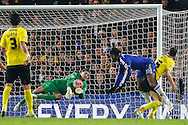 Jonathan Bond of Watford saves a headed shot from Didier Drogba of Chelsea (2nd right) during the FA Cup match at Stamford Bridge, London<br /> Picture by David Horn/Focus Images Ltd +44 7545 970036<br /> 04/01/2015