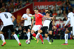 Tom Lawrence of Wales is closed down by Stefan Lainer of Austria - Mandatory by-line: Dougie Allward/JMP - 02/09/2017 - FOOTBALL - Cardiff City Stadium - Cardiff, Wales - Wales v Austria - FIFA World Cup Qualifier 2018