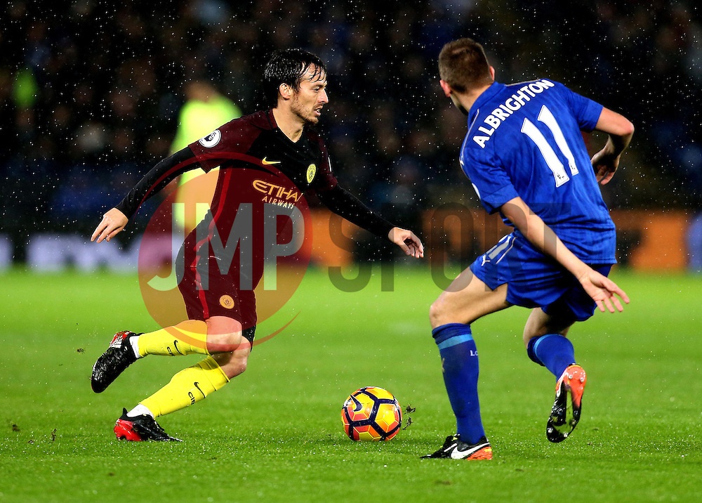 David Silva of Manchester City takes on Marc Albrighton of Leicester City - Mandatory by-line: Robbie Stephenson/JMP - 10/12/2016 - FOOTBALL - King Power Stadium - Leicester, England - Leicester City v Manchester City - Premier League