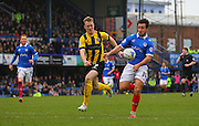 Portsmouth striker Matt Tubbs battles for the ball during the Sky Bet League 2 match between Portsmouth and Shrewsbury Town at Fratton Park, Portsmouth, England on 28 March 2015. Photo by Phil Duncan.