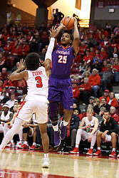 03 February 2018:  Duane Gibson defended by Keyshawn Evans during a College mens basketball game between the Evansville Purple Aces and Illinois State Redbirds in Redbird Arena, Normal IL