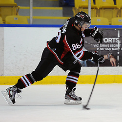 WHITBY, ON - Jan 26 : Ontario Junior Hockey League Game Action between the Whitby Fury and the Pickering Panthers , Brodie Tutton #88 of the Pickering Panthers Hockey Club shoots the puck during third period game action.<br /> (Photo by Andy Corneau / OJHL Images)