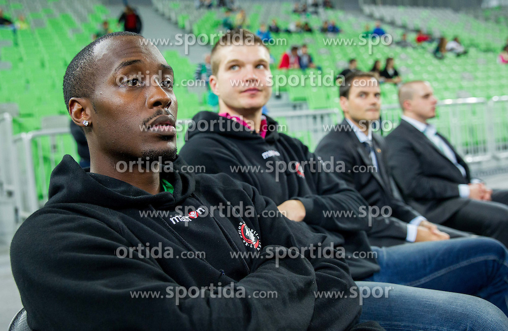 Cedric Jackson and Dino Muric during basketball match between KK Union Olimpija Ljubljana and KK Cibona Zagreb in 2nd Round of ABA League 2013/14 on October 10, 2013 in Arena Stozice, Ljubljana, Slovenia. (Photo by Vid Ponikvar / Sportida)