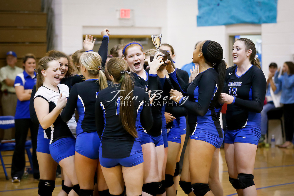 November/2/13:   Bull Run District Tournament Finals.  Madison defeats William Monroe 3-1 (25-19, 25-27, 25-16, 25-19), and are now 22-1 for the season, and undefeated in Bull Run District play.