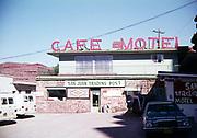 Cafe Motel at San Juan Trading Post motel, Mexican Hat, Utah, USA in 1976