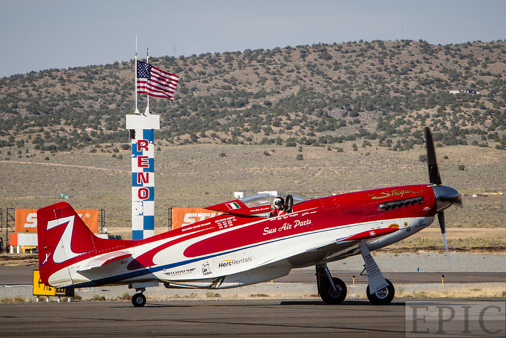RENO, NV - SEPTEMBER 17: Unlimited gold class winning plane Strega with pilot Jay Consalvi taxis down the runway after posting a speed of 481.34 MPH on the final day at the Reno Championship Air Races on September 17, 2017 in Reno, Nevada. (Photo by Jonathan Devich/Getty Images) *** Local Caption *** Jay Consalvi