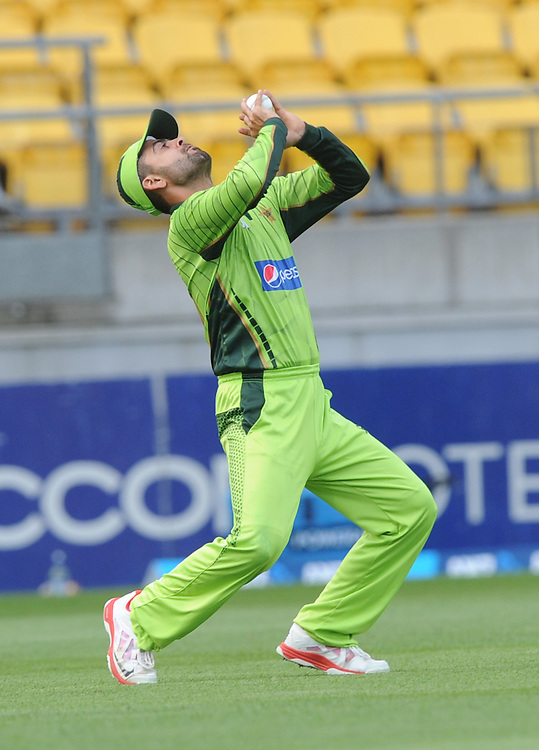 Pakistan's Ahmed Shehzad takes the catch to dismiss New Zealand's Brendon McCullum for 17 in the 1st One Day International cricket match at Westpac Stadium, New Zealand, Saturday, January 31, 2015. Credit:SNPA / Ross Setford