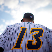 New York Yankees Third Baseman Alex Rodriguez autographs for fans before a minor league game for the AA Trenton Thunder in Trenton, NJ on August 3, 2013.  He is facing a suspension by Major League Baseball for his alleged use of steroids with the Biogenesis clinic in Florida.