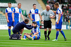 Bristol Rovers' John-Joe OToole receives treatment  - Photo mandatory by-line: Dougie Allward/JMP - Tel: Mobile: 07966 386802 07/09/2013 - SPORT - FOOTBALL -  Home Park - Plymouth - Plymouth Argyle V Bristol Rovers - Sky Bet League Two